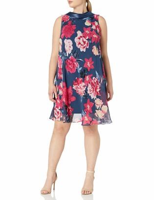 SL Fashions Women's Satin Collar Aline Print