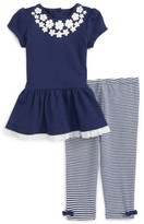 Little Me Infant Girl's Floral Applique Dress & Stripe Leggings Set