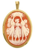 Del Gatto Young Girls Cornelian Cameo Pendant / Pin