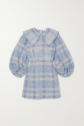 Ganni Checked Seersucker Mini Dress - Blue