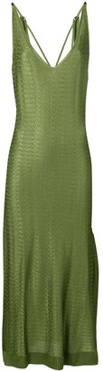 Esteban Cortazar Silky Knit Tie Shoulder Dress