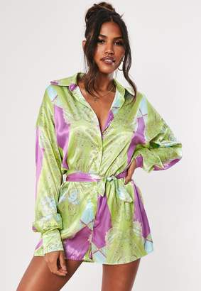 Missguided Pink Printed Satin Graphic Shirt Playsuit