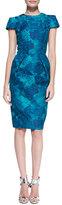Carmen Marc Valvo Short-Sleeve Floral Jacquard Sheath Dress, Teal