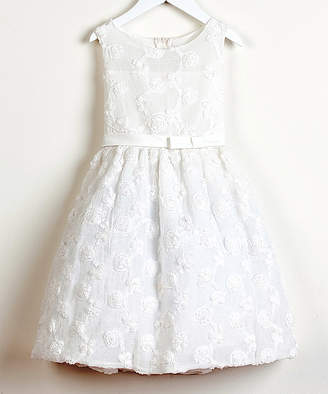 Off-White Sweet Kids Girls' Special Occasion Dresses OFF Floral Swirl Dress - Toddler & Girls
