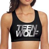 KARRE Women's Teen Wolf Platinum Logo Racerback Yoga Sports Bra