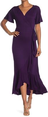 WEST KEI Surplice Wrap Ruffle High/Low Hem Dress