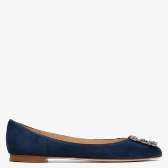 Fabio Rusconi Moorgate Blue Suede Embellished Ballet Pumps