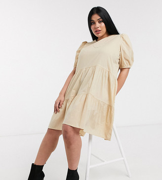 Only Curve poplin mini smock dress with puff sleeves in beige