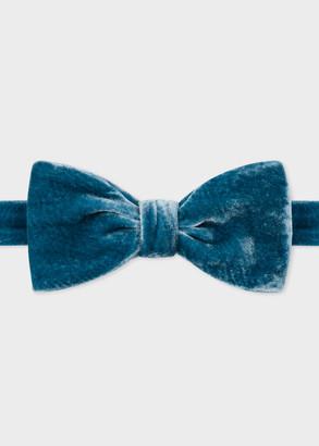 Mens Petrol Blue Velvet Self-Tie Bow Tie