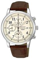 Seiko Sndc31p1 Chronograph Leather Strap Watch, Brown/cream