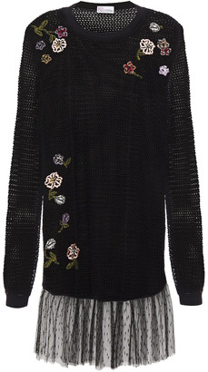 RED Valentino Point D'esprit-paneled Embroidered Open-knit Mini Dress