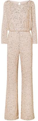 Jenny Packham Babette Embellished Gauze Jumpsuit
