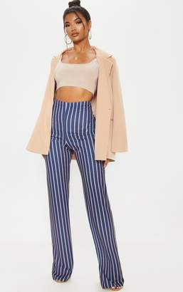 PrettyLittleThing Green Stripe Crepe High Waisted Wide Leg Trouser