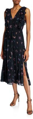 Paige Basil V-Neck Butterfly-Print Dress