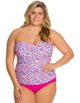Sunsets Plus Size Surfside Shirred Bandeau Tankini Top (D/DD) 8129407