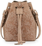 Ralph Lauren Small Embroidered Suede Drawstring Bucket Bag, Taupe