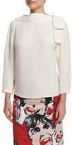 Marc Jacobs 3/4-Sleeve V'd-Back Blouse, White