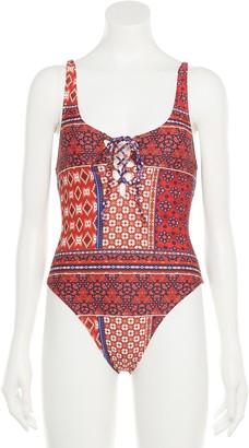 Indigo Rein Juniors' Patchwork Print Lace-Up One-Piece Swimsuit