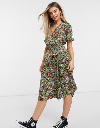New Look ruffle sleeve midi wrap dress in patchwork floral print