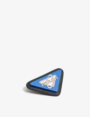 Prada Saffiano leather and enamel retro brooch