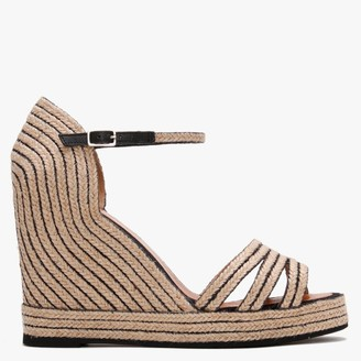 Daniel Callie Black & Beige Jute Trim Wedge Sandals