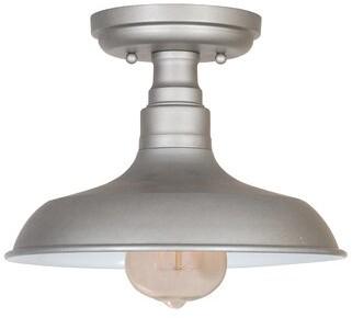 "Laurèl Stephine 1 - Light 11.02"" Simple Dome Semi Flush Mount Foundry Modern Farmhouse Fixture Finish: Galvanized Steel"