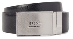 HUGO BOSS Reversible smooth and embossed leather belt with plaque buckle
