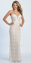 Dave and Johnny Plunging Sweetheart Spaghetti Strap Lace Prom Dress