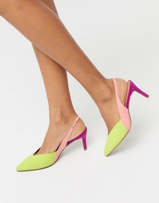 ASOS DESIGN Sofia slingback kitten heels in bright mix