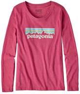 Patagonia Girls' Long-Sleeved Pastel P-6 Logo Organic Cotton/Poly T-Shirt