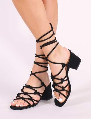 Public Desire Freya Knotted Strappy Block Heeled Sandals Faux Suede