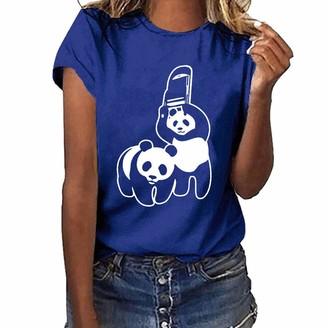 NEEDRA SALES Women Girls Plus Size Cute Panda Print Casual Short Sleeve T Shirt Blouse Tops Blue