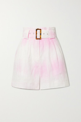 Solid & Striped Belted Tie-dyed Linen Shorts - Pastel pink