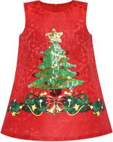 Sunny Fashion Girls Dress A-line Christmas Tree Xmas Sequin Sparkling Holiday Party