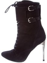 Balmain Suede Lace-Up Ankle Boots