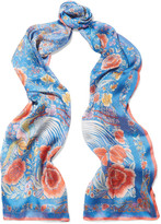 Roberto Cavalli Printed silk-satin scarf