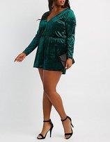 Charlotte Russe Plus Size Velvet V-Neck Romper