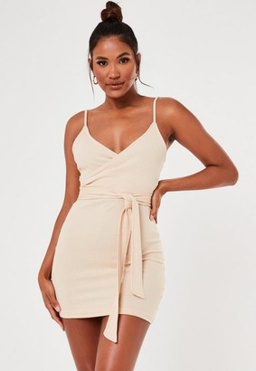Missguided Nude Rib Wrap Over Cami Mini Dress