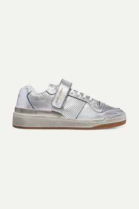 Saint Laurent Travis Logo-print Distressed Perforated Metallic Leather Sneakers - Silver
