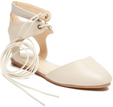 Nude High-Ankle Lace-Up Flat