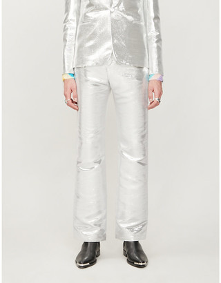 Paco Rabanne Tailored-fit straight metallic woven trousers