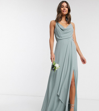 TFNC Tall bridesmaid cowl neck cami strap maxi dress with train in sage