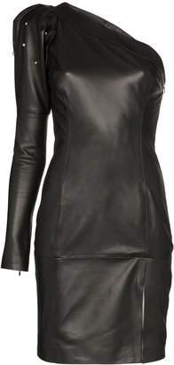 Skiim Jimmy one-shoulder leather mini dress