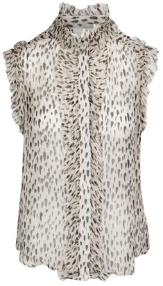 7 For All Mankind Snow Leopard Ruffle Top