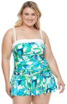 Chaps Plus Size Body Sculptor & Tummy Slimmer Bandeau Swimdress