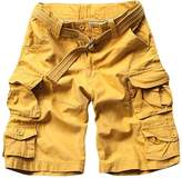 LETSQK Men's Multi-Pocket Camouflage Dungarees Belted Cargo Shorts XXXL