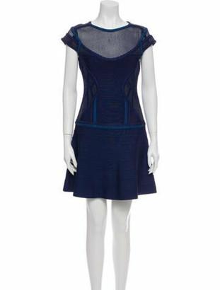 Herve Leger Scoop Neck Mini Dress Blue