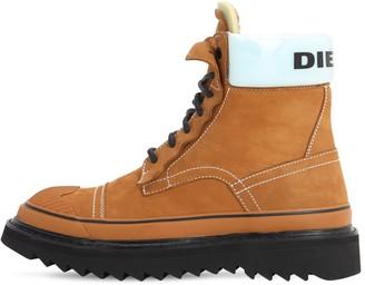 Diesel 35mm Logo Nubuck Combat Boots