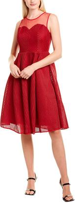 Gracia Striped Mesh A-Line Dress