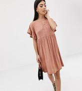 Asos DESIGN Petite metallic frill sleeve smock dress